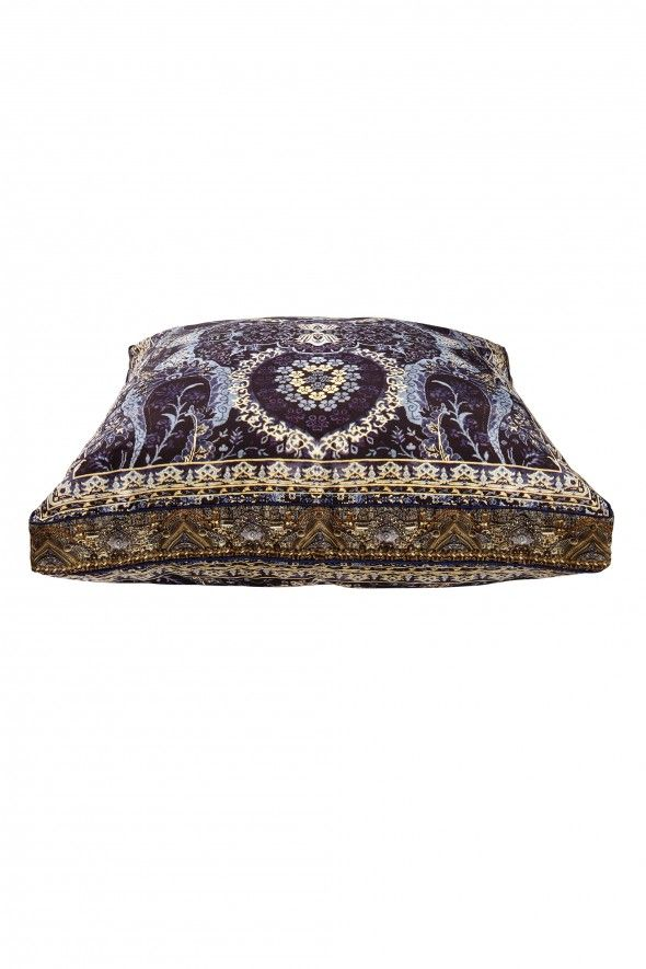 Inspired by a relentless love of travel, each CAMILLA pillow is designed to have a sentimental place in your heart and home. With hand-embroidered crystals, meticulous design, and soft, pure silk fabric showcasing our Constantinople print - this pillow will make a beautifully bohemian piece for your lounge room.  FABRICATION: Polyester canvas  EMBELLISHMENT: N/A DIMENSIONS: 85cm X 85cm X 10cm - $349