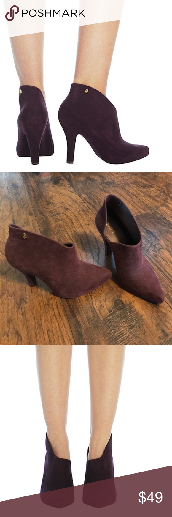 Melissa vegan drama flocked waterproof bootie Dark plum color, US size 5, very gently used! Melissa Shoes Ankle Boots & Booties