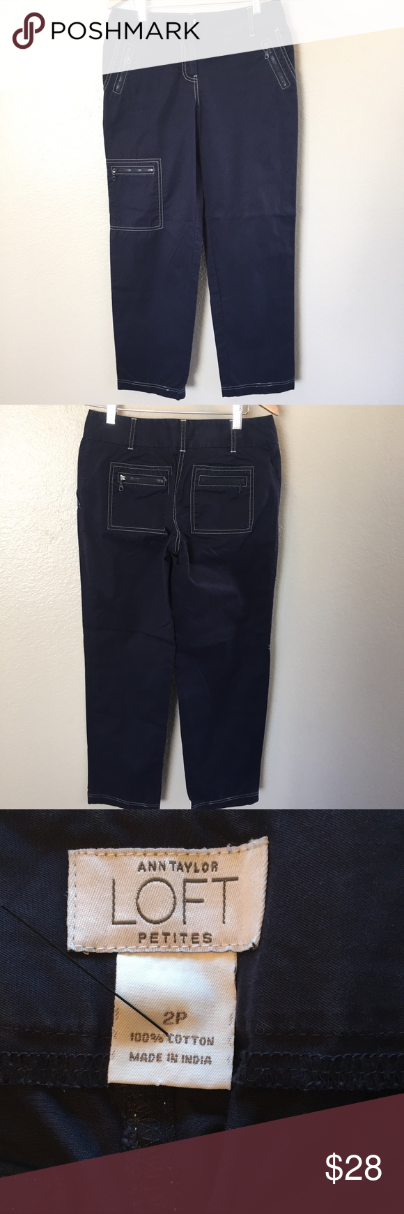 Womens Navy Blue 100 Cotton Capri Pants 2 Petite In 2018 My Posh Jeans Pant Woman 7 9 Mocca 98 Nwot Size Petites 28x28 Loft Capris