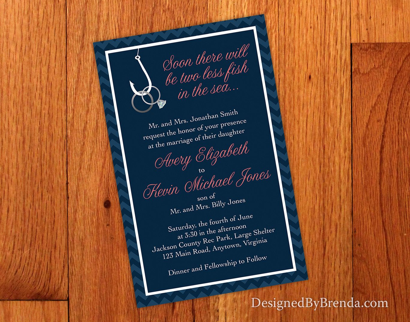 ee1ff88d32cf Two Less Fish in the Sea Wedding Invitation with Rings on Hook - Navy and  Coral