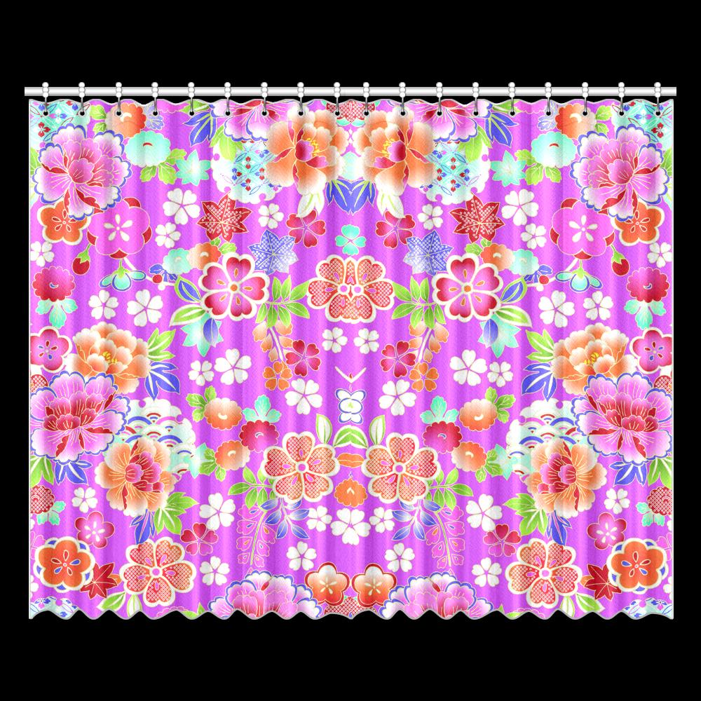 "Japanese Floral Kimono Pattern Window Curtain 52""x84""(Two…"