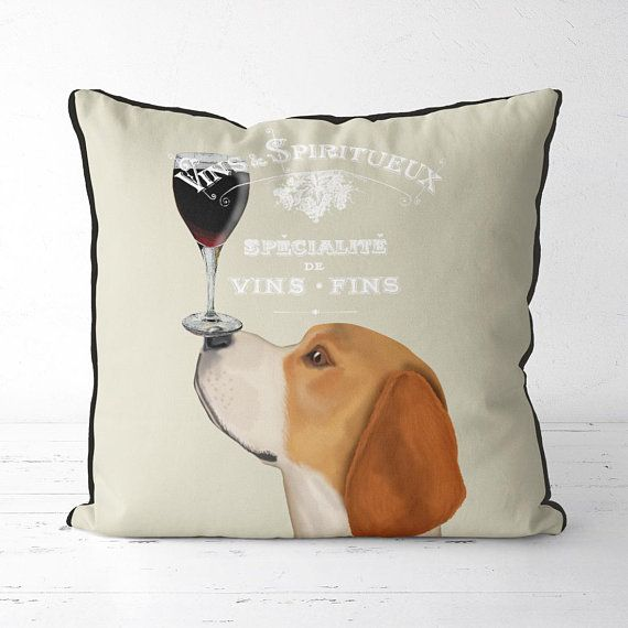 Beagle Gifts Funny Beagle pillow cute beagle gift dog pillow cover dog throw pillow pet pillow cool wine gifts best wine gifts birthday gift