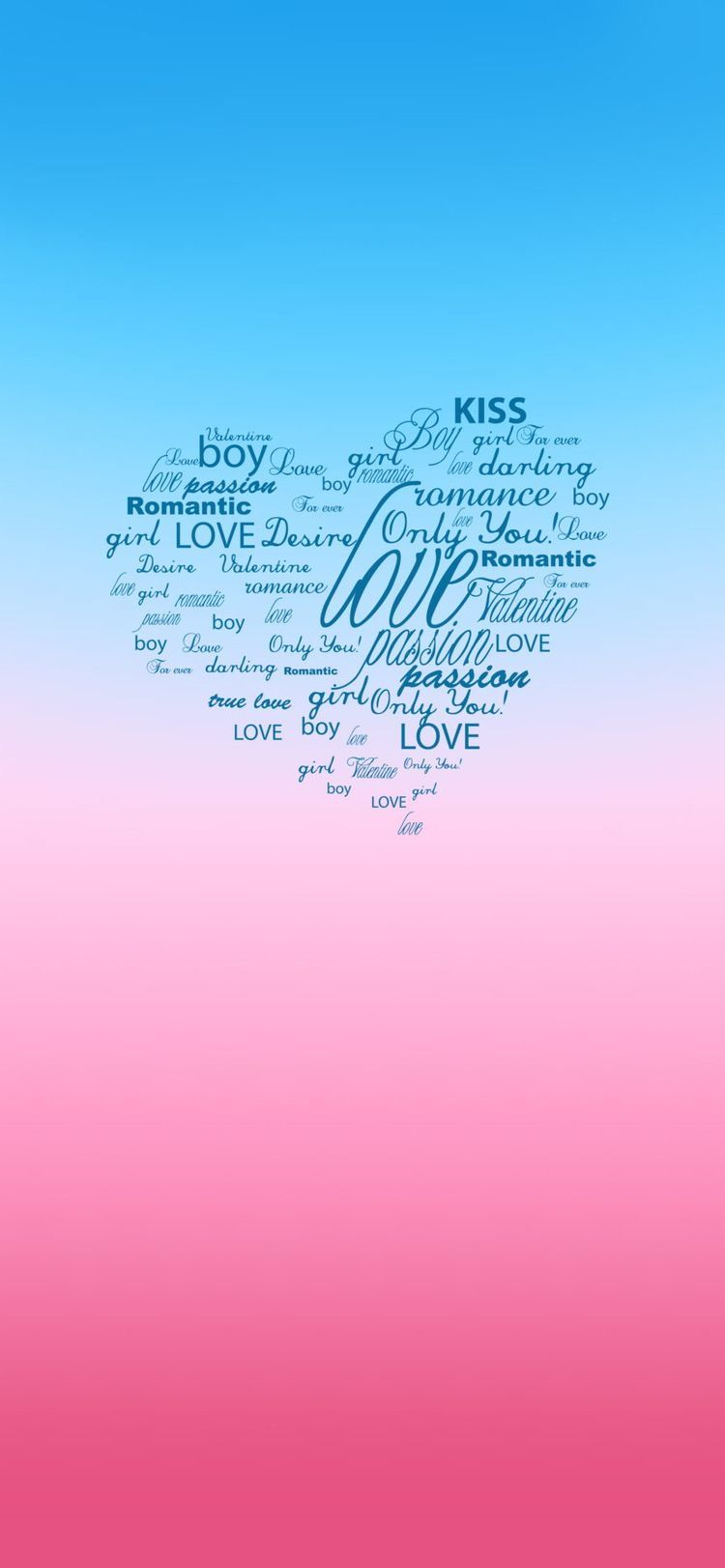 Pink Blue Gradient Cute Love Valentines Wallpaper For Mobile