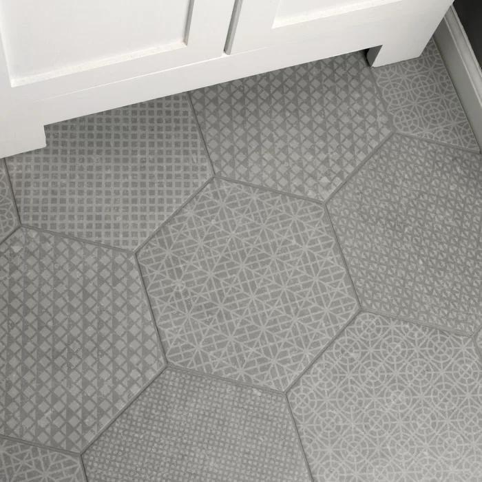 "Lunastone 10"" x 12"" Porcelain Mosaic Tile Bathroom floor"