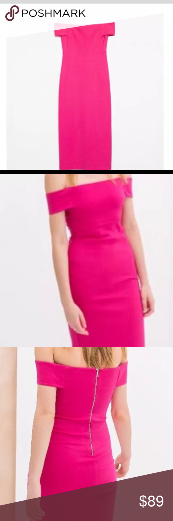 7d64d154 NWOT-zara hot pink off shoulder body con dress Brand new never worn (still  has plastic price that tag attaches to but no tag) hot pink off shoulder  body con ...