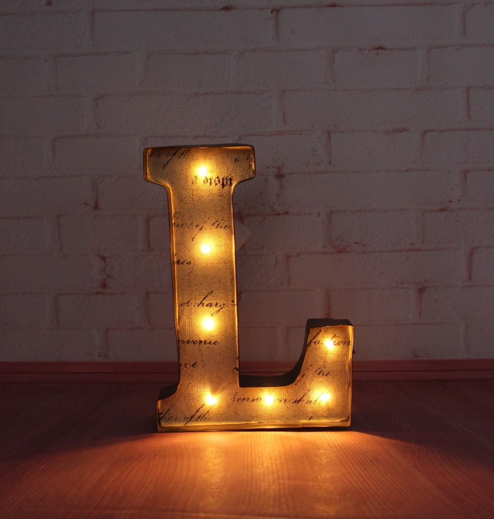 "Metal Letter Signs With Lights 9"" Metal Letters Light Led Marquee Sign Light Up Rustic Metal"