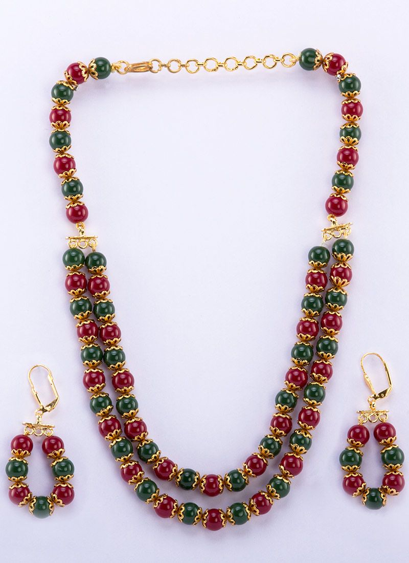 Pretty beads adorned necklace set necklace pinterest beads and