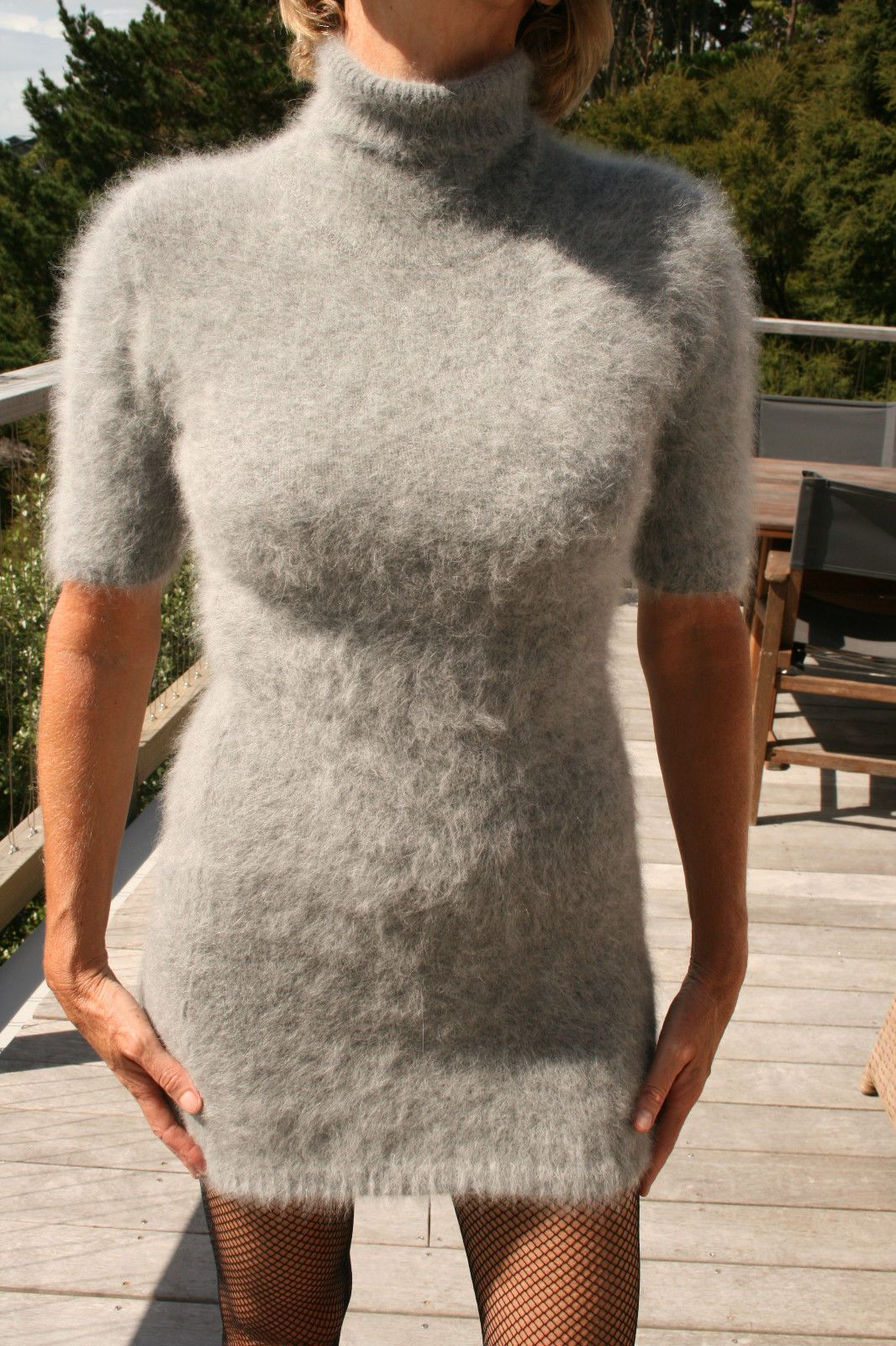 Stunning 100 Angora Sweater Dress Extraordinary Soft Fuzzy Furry ...