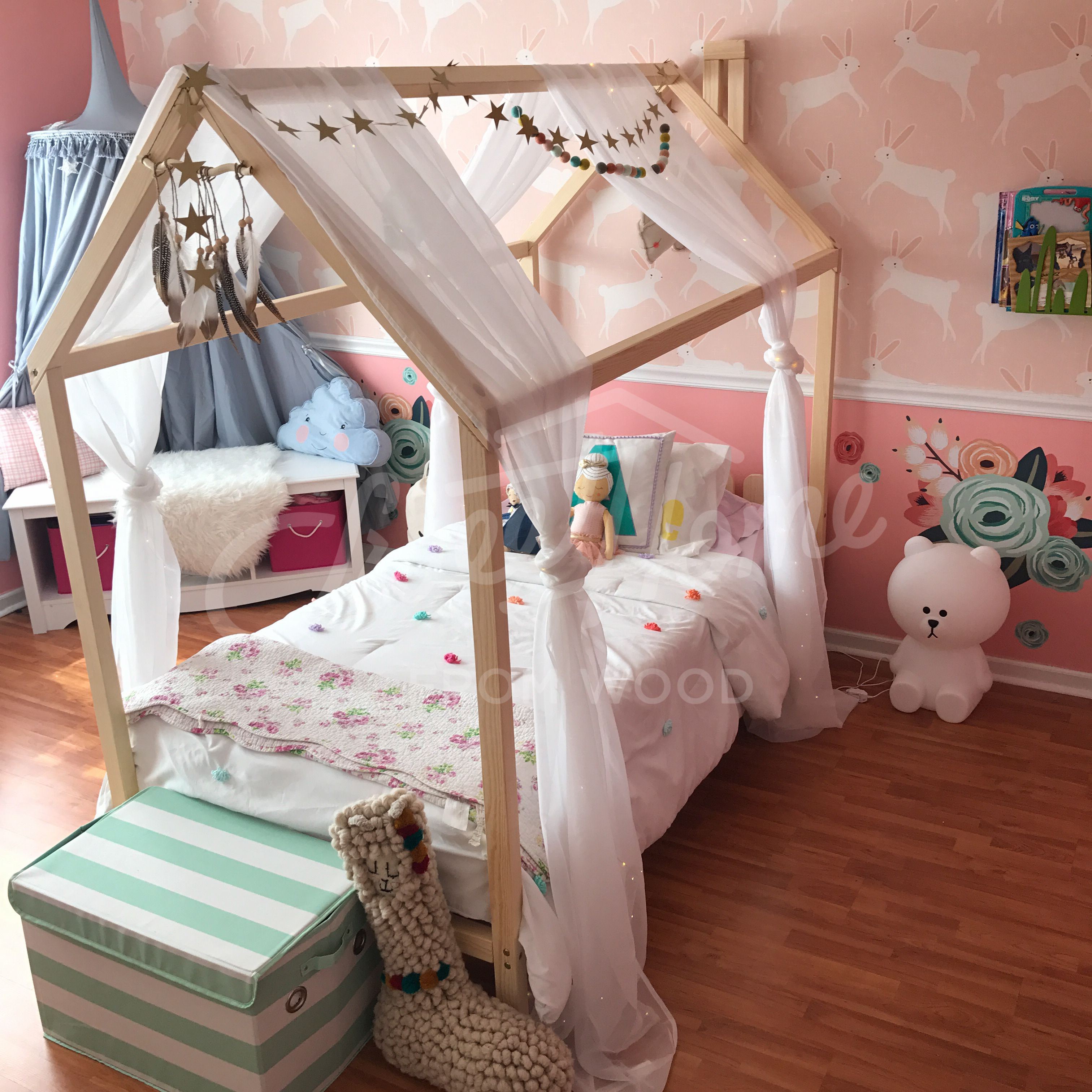 Kids Teepee Toddler Bed House Or House Bed Frame With Headboard
