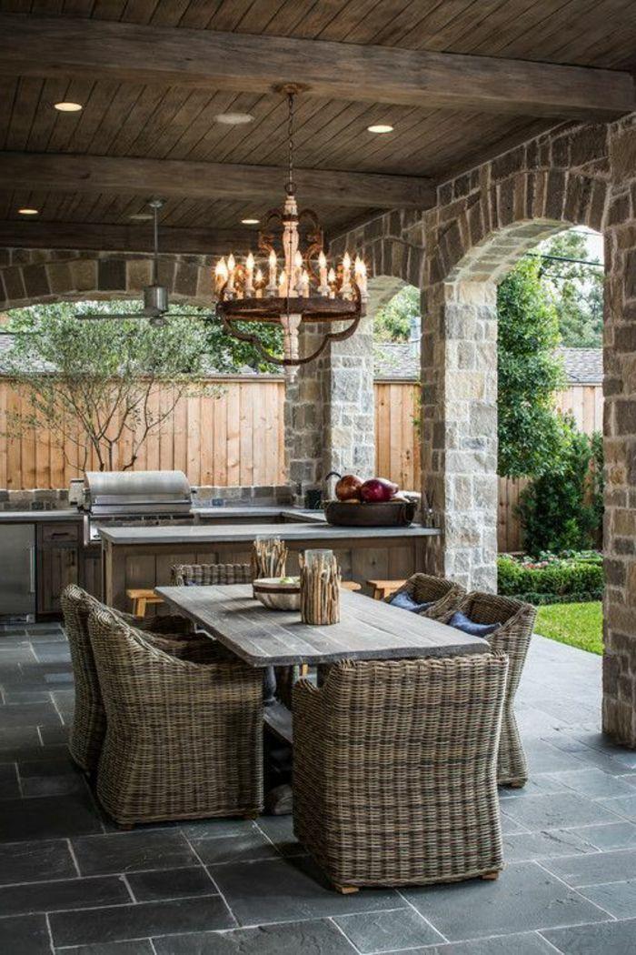 meubles de jardin en bois massif, lustre extérieur, lustre ...