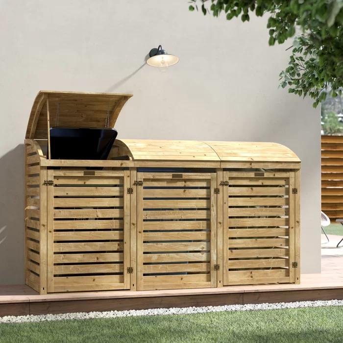 Alviso Wooden Triple Bin Store In 2020 Bin Store Triple Bin Store Wooden Bins
