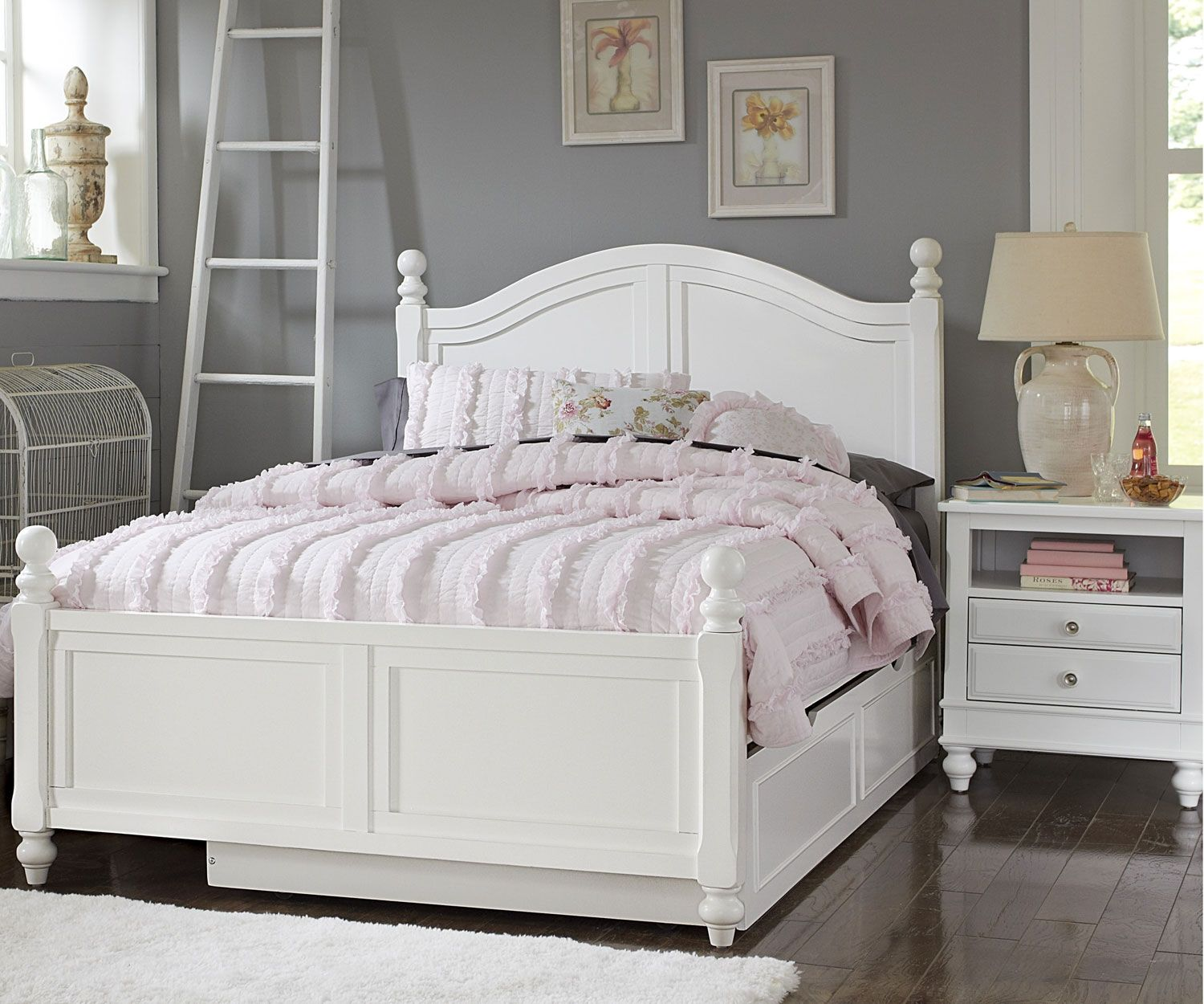 eKids Rooms Full bed with trundle, Bed storage, White