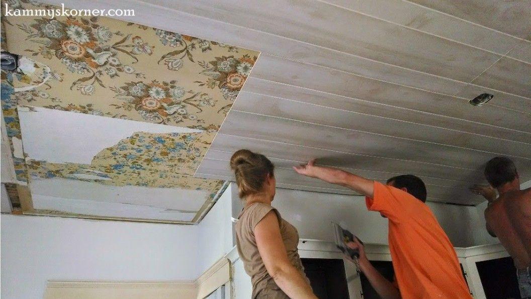 Whitewash Beadboard Ceiling Panels In