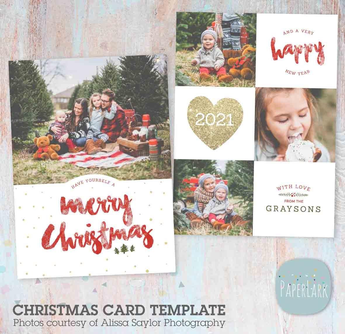 Editable Christmas Card Photo Greeting Card Template