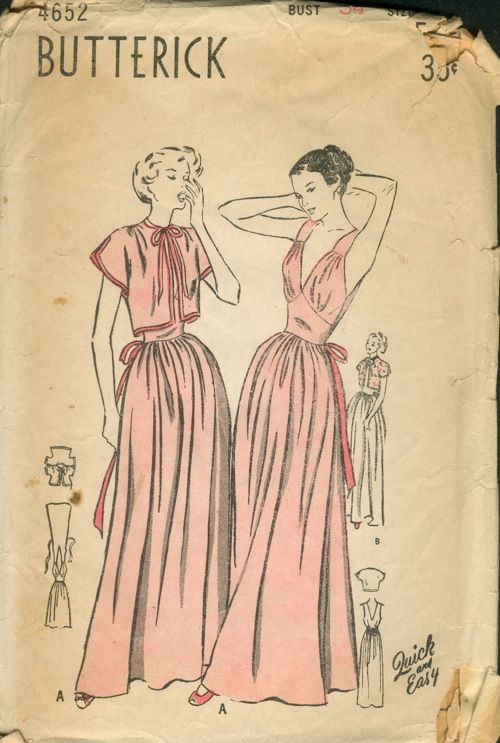 Butterick 4652  ca. late 1940s  Unprinted Pattern. Women s and Misses   Nightgown and Bed Jacket. 2e26c6ce4