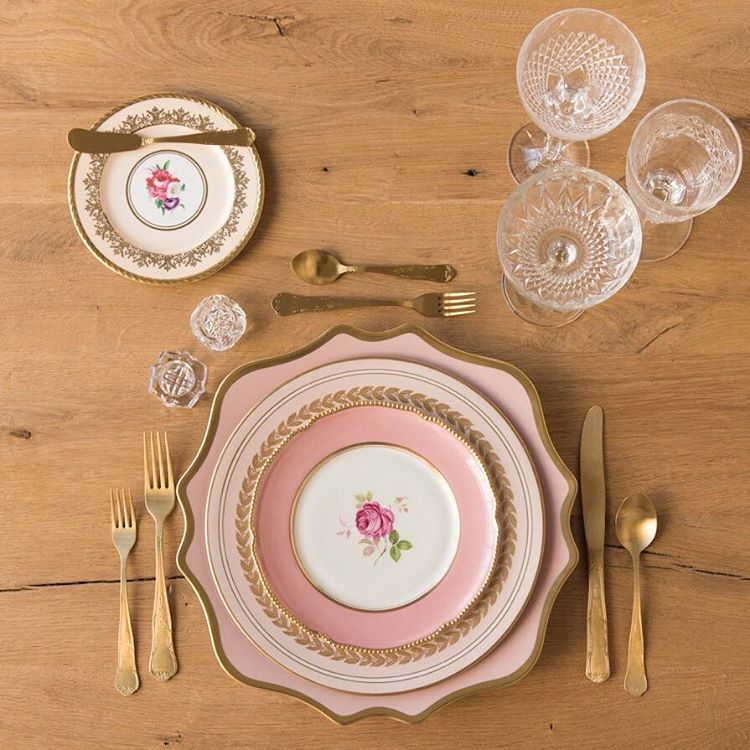 Anna Weatherley Charger in Desert Rose + The Botanicals Collection Vintage China + Chateau Flatware + Vintage Cut Crystal/EAPG/Coupe Trio + Antique Crystal Salt Cellars | Casa de Perrin Design Presentation