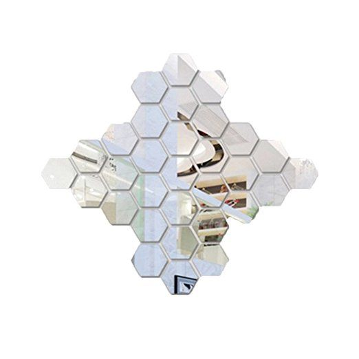 Cool SZTARA D Spiegelfliesen Sechseck Selbstklebend Wand Deko Sticker Heimdekoration