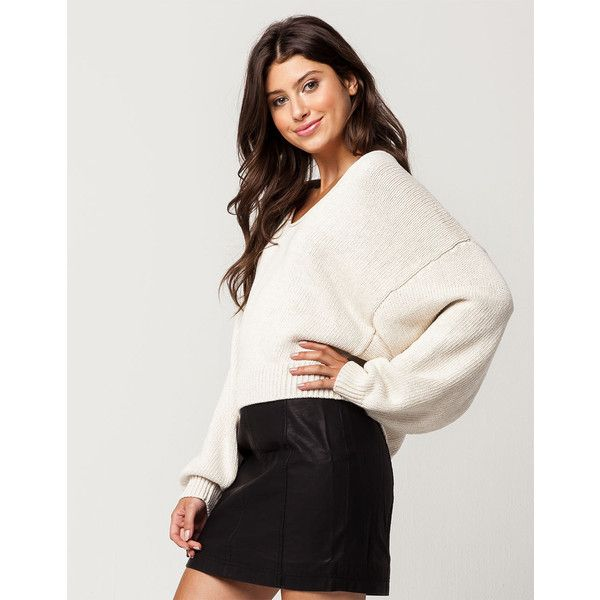 Free People Perfect Sweater ($98) ❤ liked on Polyvore featuring tops, sweaters, white cotton sweater, cotton sweaters, oversized white sweater, white sweater and chunky sweater