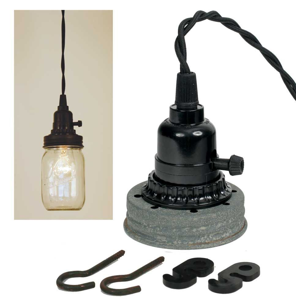 Mason jar pendant lamp kit barn roof products pinterest
