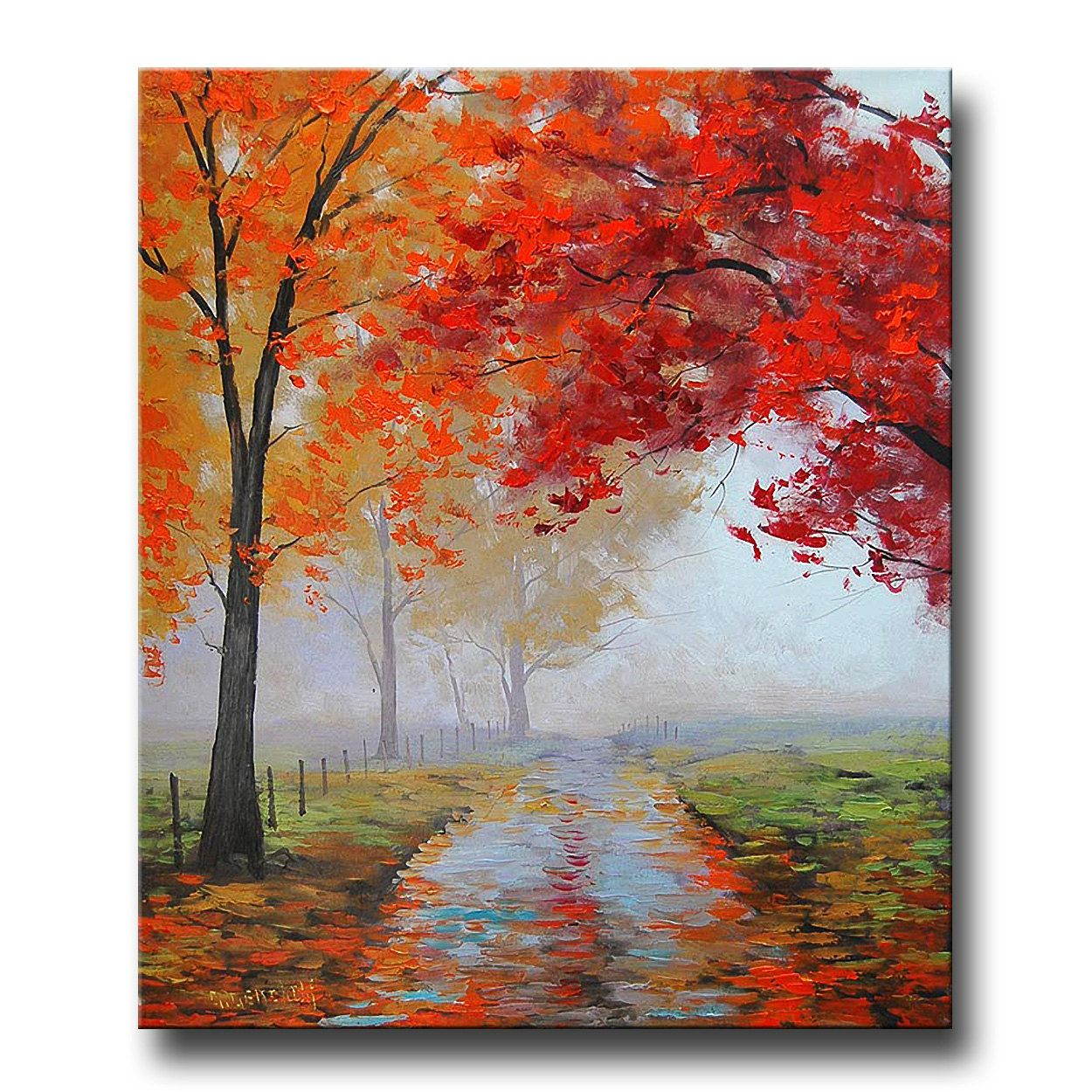Gercken Autumn Oil Painting Commissioned Fall Trees Impressionism Misty Road Art Deco 158 00 Via Etsy