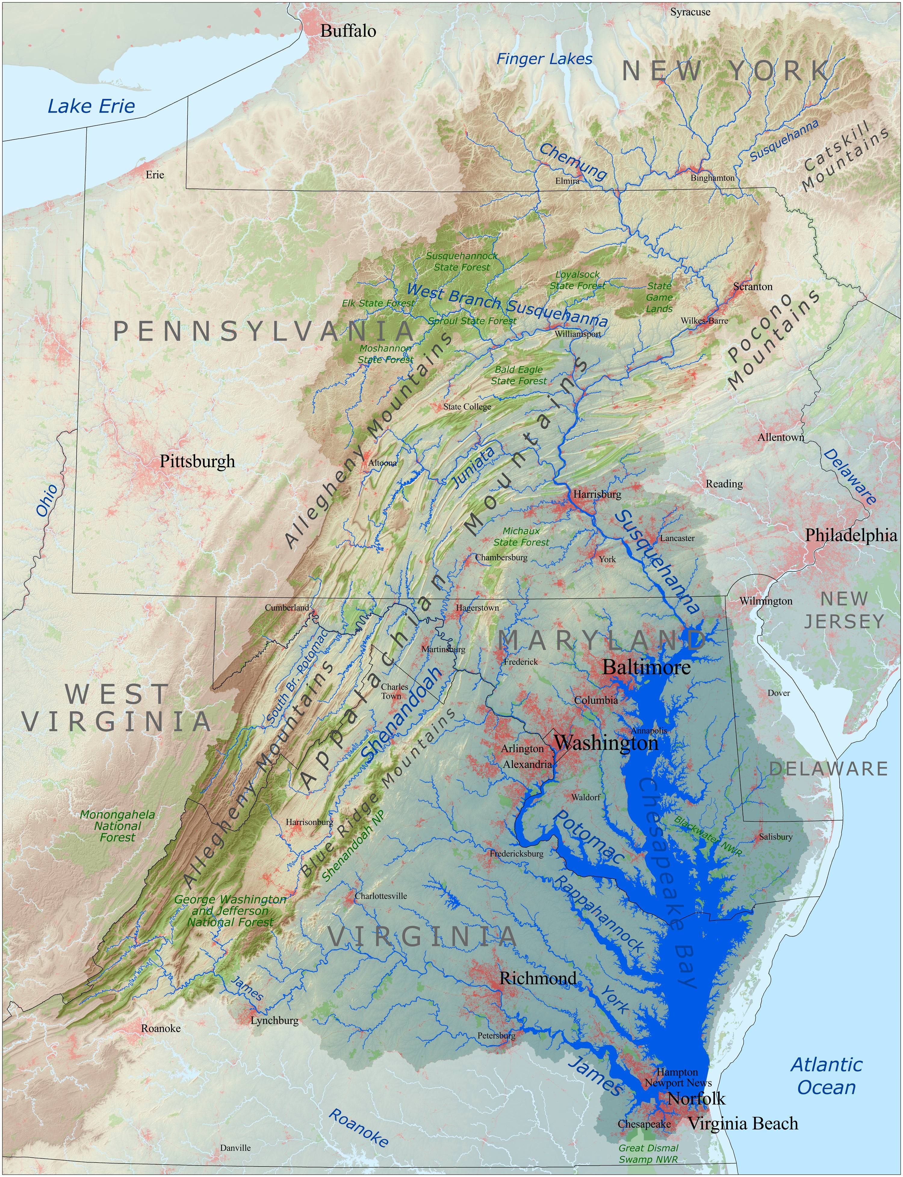 hight resolution of chesapeake bay drainage basin