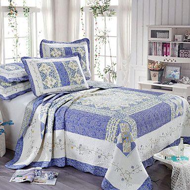 3 peças floral azul acolchoado algodão rainha conjunto de capa de edredon – USD $ 79.99