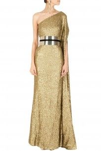 Shimmer long sleeved gown