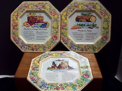 Avon 1982 Hospitality Sweets Recipe Metal Plates Plum Pudding, Nut Bread, Buche
