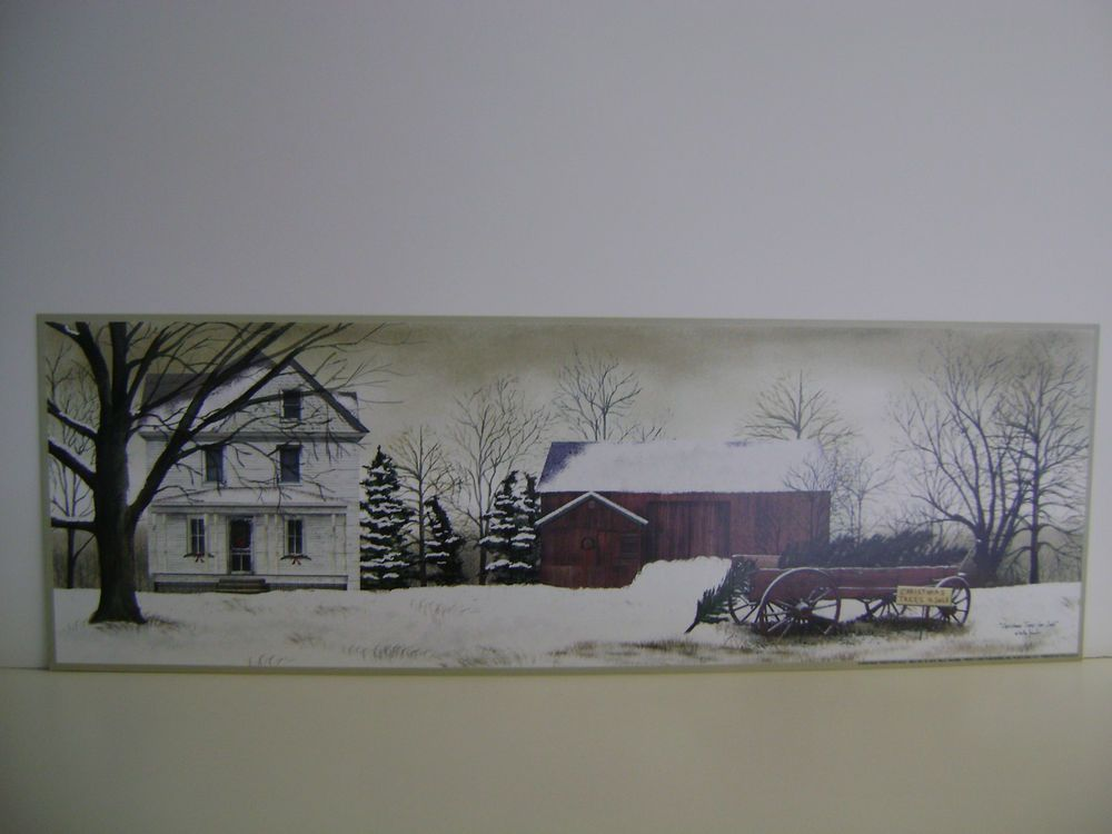 CHRISTMAS TREES FOR SALE BY BILLY JACOBS HOUSE, BARN, WAGON WITH TREES AND SNOW #Realism