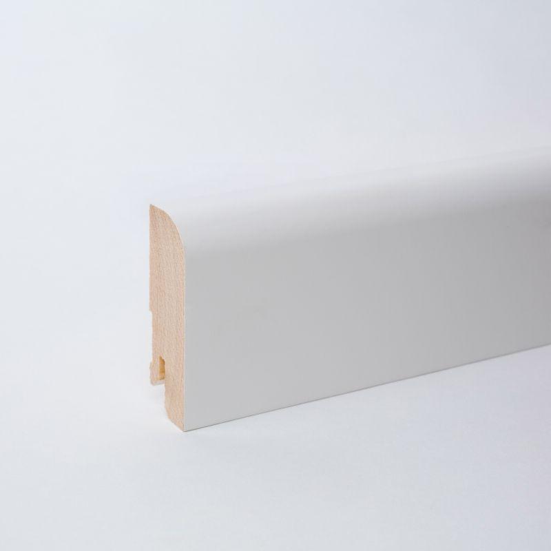 Massivholz Sockelleiste 60mm Rundkante Weiss Ral 9010 Sockelleisten Holz Fussleisten