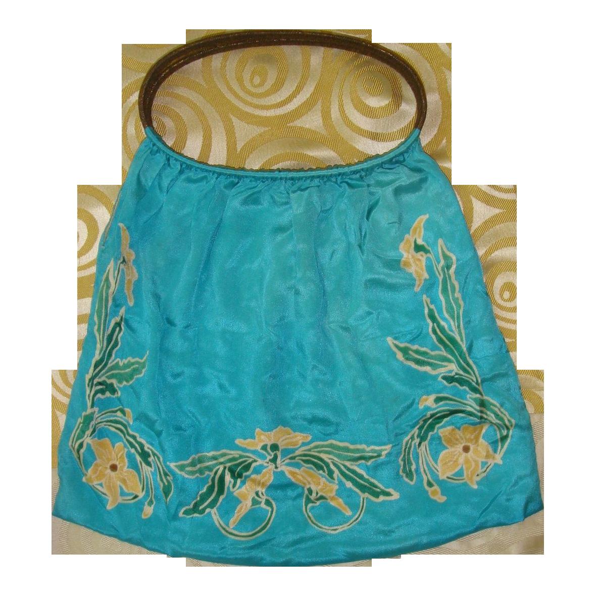 Late Teens WWI Era Turquoise Silk Knitting Bag Purse