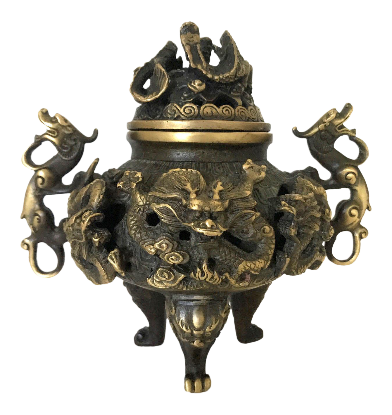 China antique handmade Brass dragon statue Incense Burner