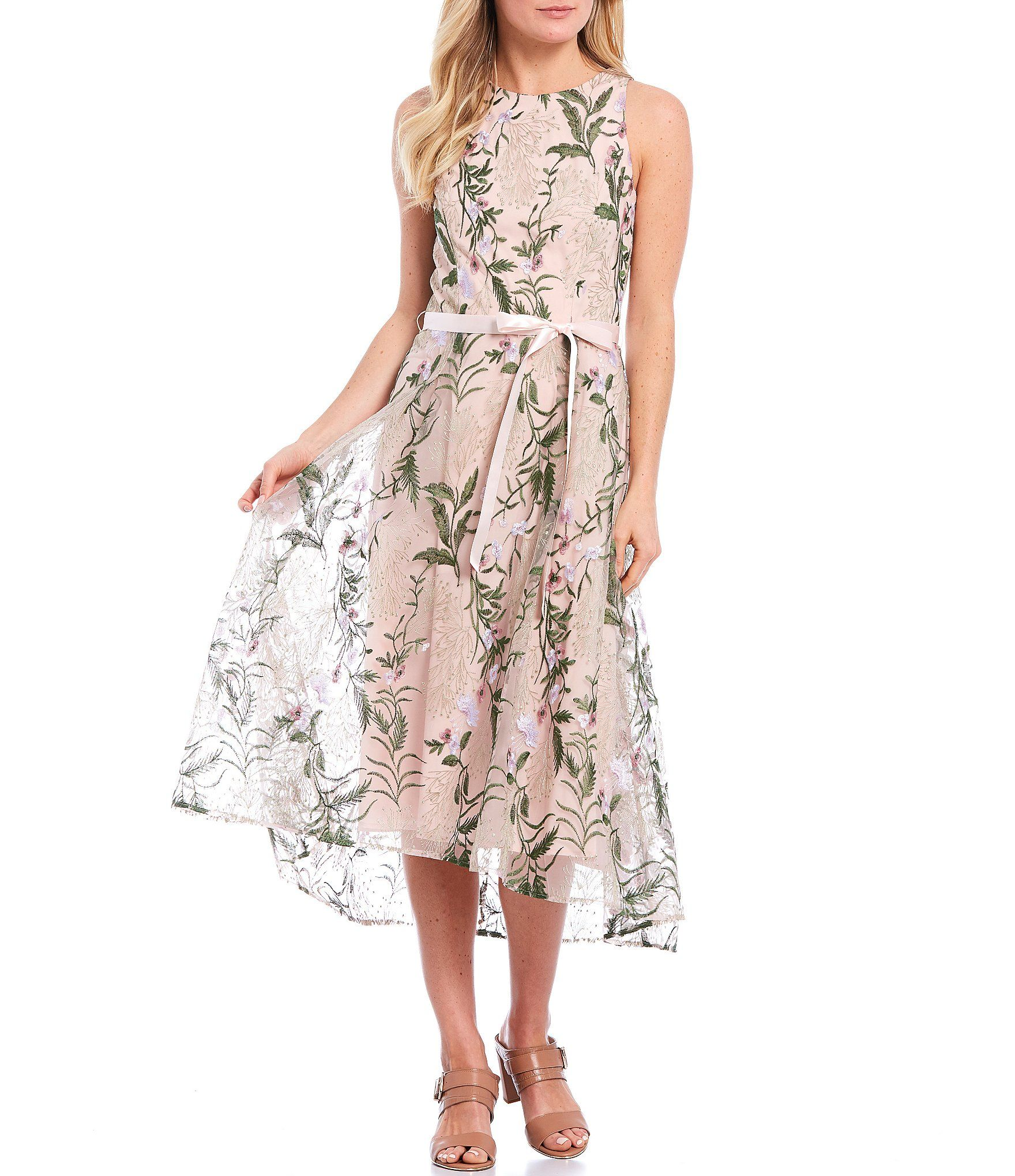 Tahari Asl Floral Embroidered Mesh Satin Ribbon Waist Hi Low A Line Dress Dillard S In 2020 Floral Cocktail Dress Casual Dresses For Teens Casual Dresses Plus Size