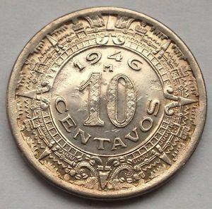 Lt13 1946 M Mexico 10 Centavos Aztec Calendar Coin Mexican Vf Details Monedas De Plata Monedas Viejas Monedas