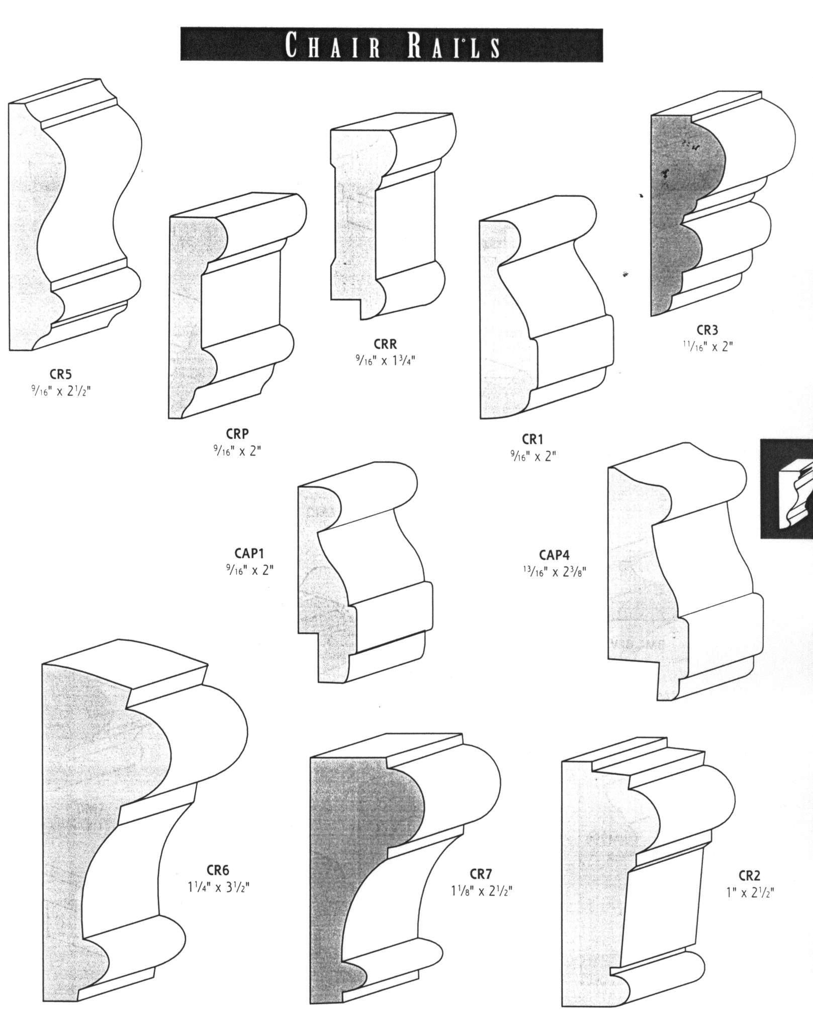 different types of chair rail Moldings and trim