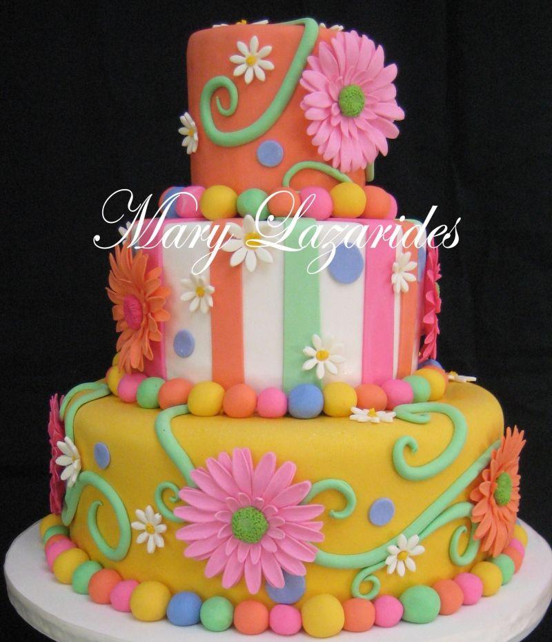Celebrations (With images) Daisy cakes, Fondant cake