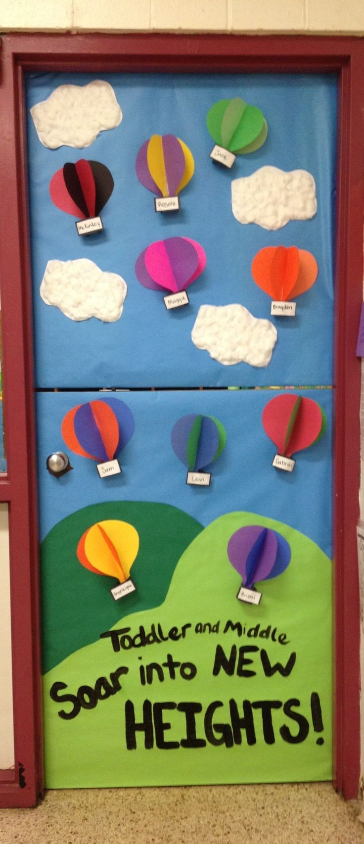 Preschool Classroom Door Decoration ~ Hot air balloon classroom door