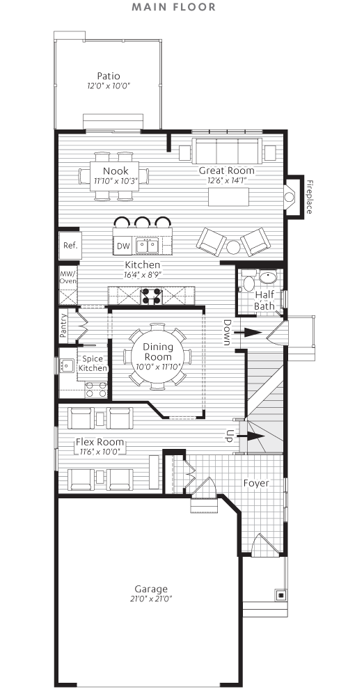 Main Floorplan Show Home Floor Plans Flex Room