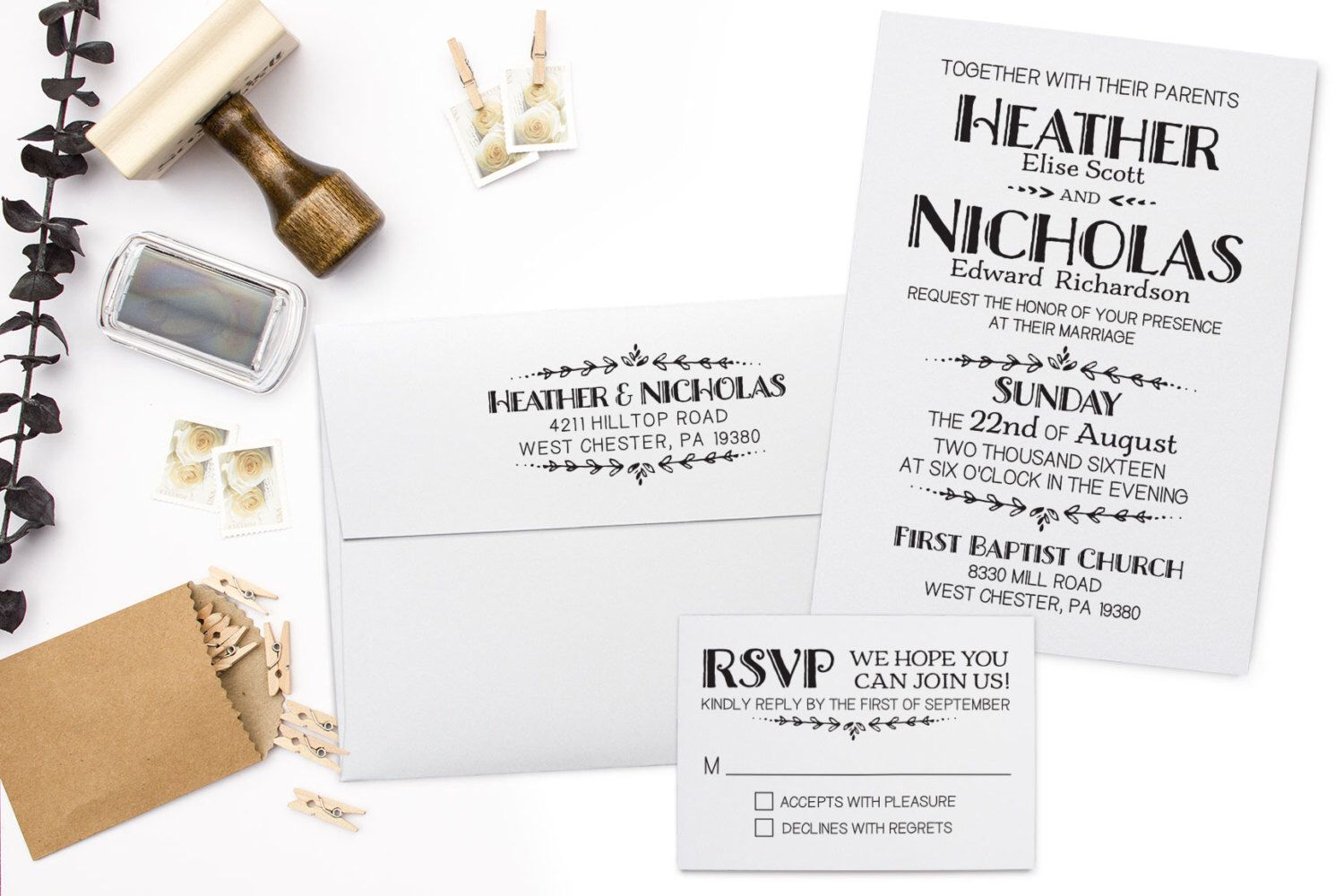 Wedding Invitation Stamp Suite. DIY Wedding Stamp, RSVP Stamp ...