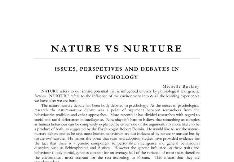 Term paper on nature vs nurture analysis article essays