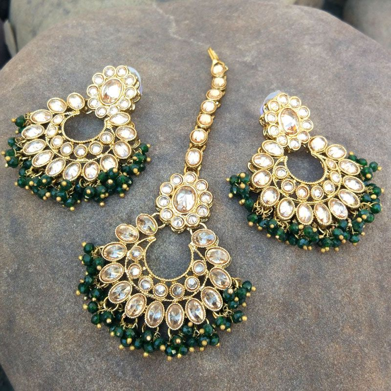Traditional Green Pearl Earrings with Maang Tikka