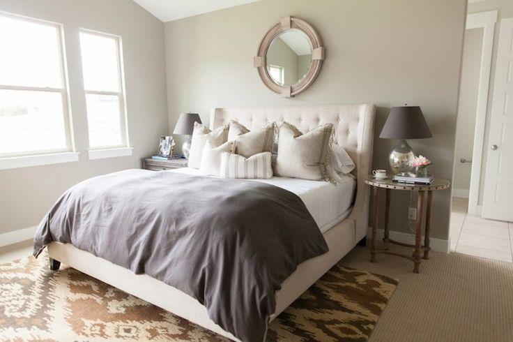 grey bedding tufted headboard bedroom