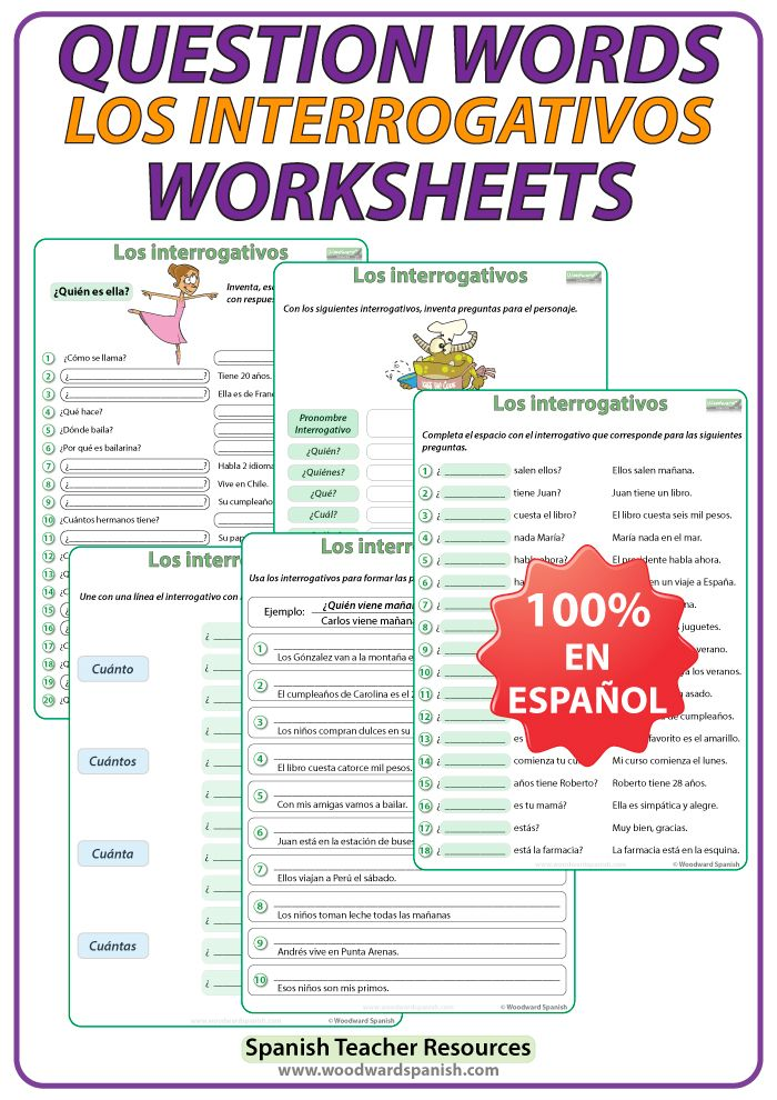 Spanish Question Words Worksheets | spanish | Learn another ...