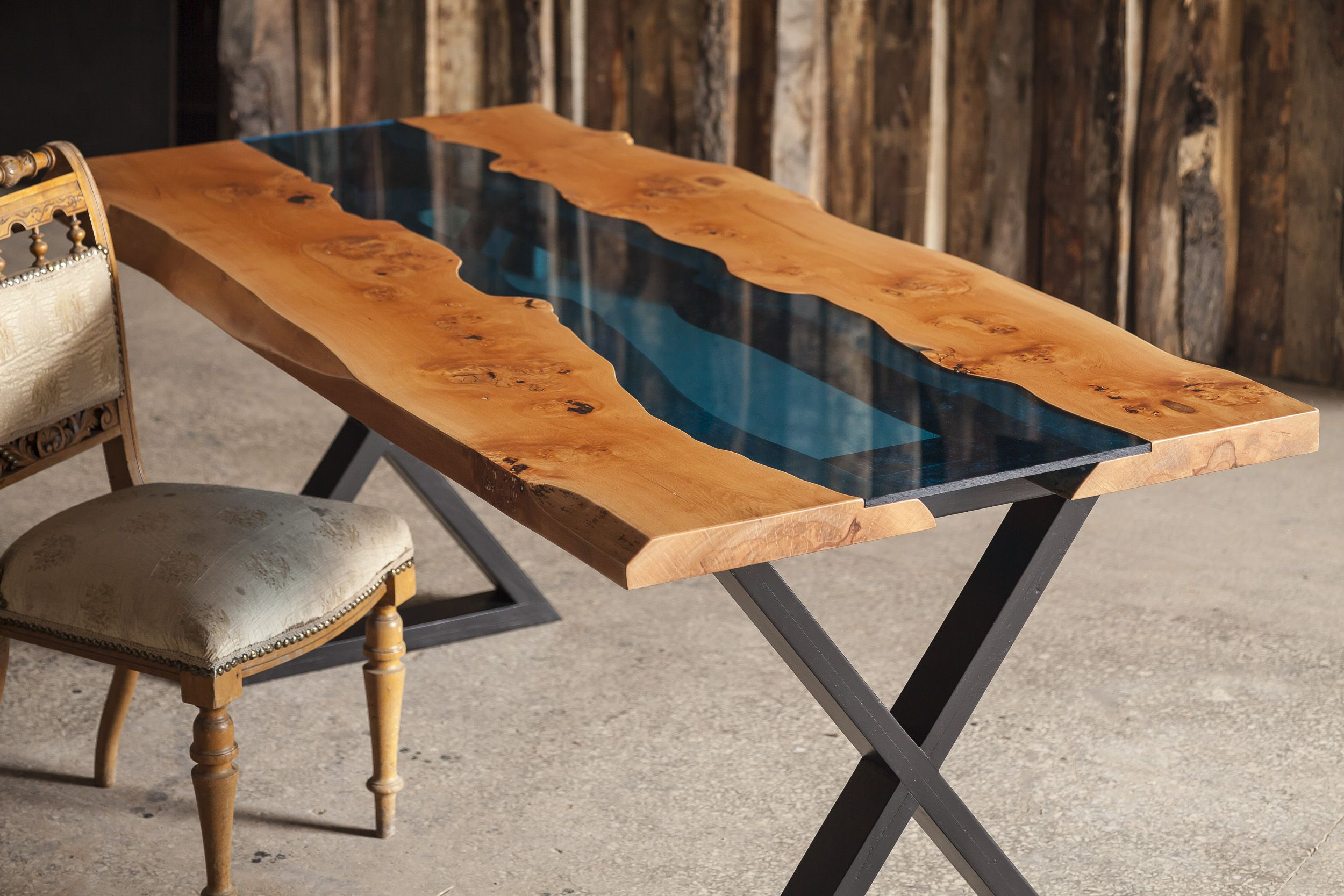 Aqua Table Made From Beech Tree And Blue Acrylic Available For