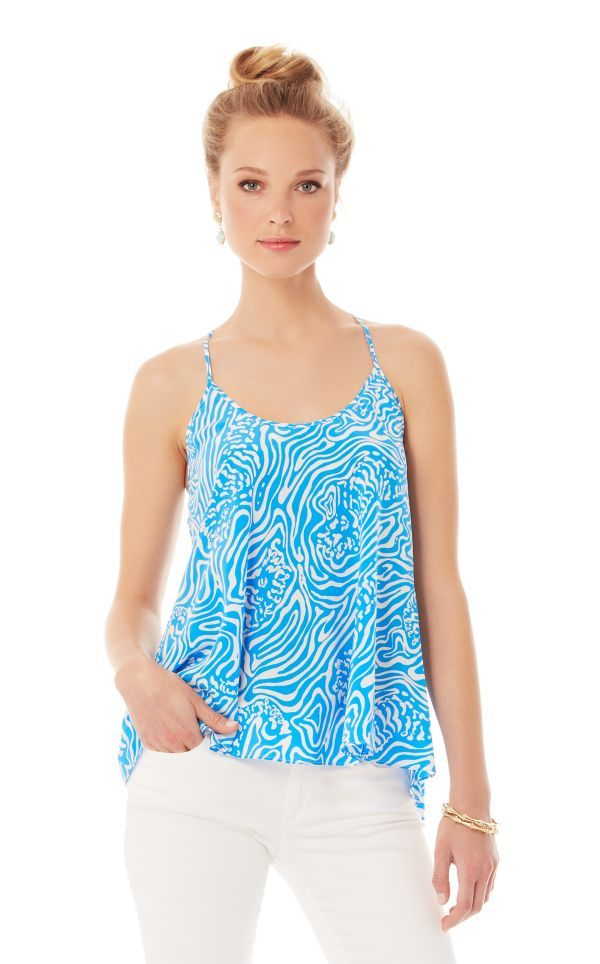 FINAL SALE - Maisy Printed Racerback Camisole - Lilly Pulitzer Solar Blue Night Swimming