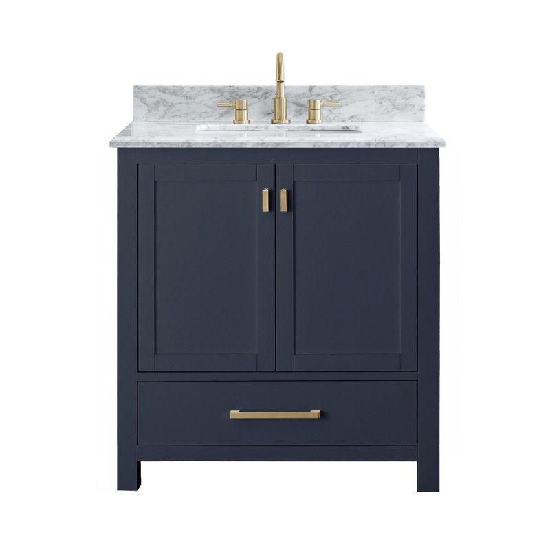 Chans Furniture Zk 1808 V30nb 30 Inch Tennant Brand Durand Navy Blue Bathroom Sink Vanity In 2020 Avanity Modero Marble Vanity Tops Vanity Combos