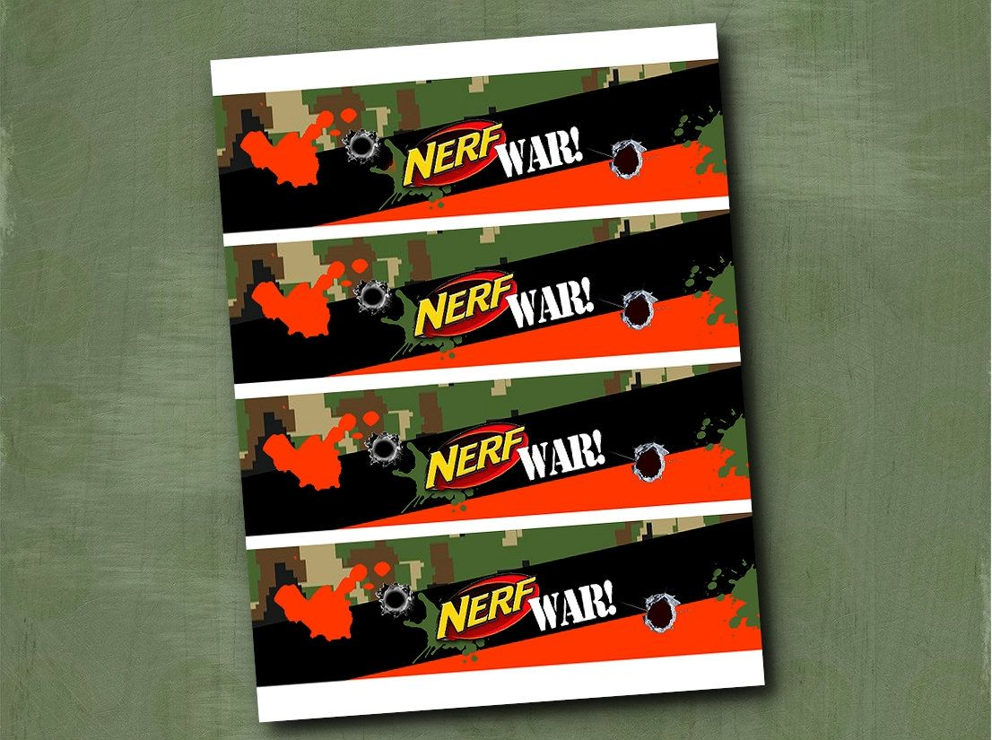 Water Bottle Labels Nerf War Birthday Party by ParchmentSkies