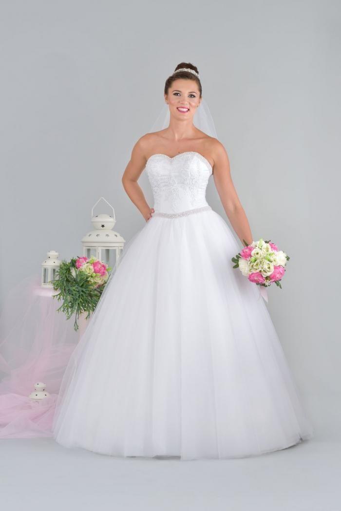 Klasyczna Suknia ślubna Księżniczka Bez Ramiączek I Wiązanym