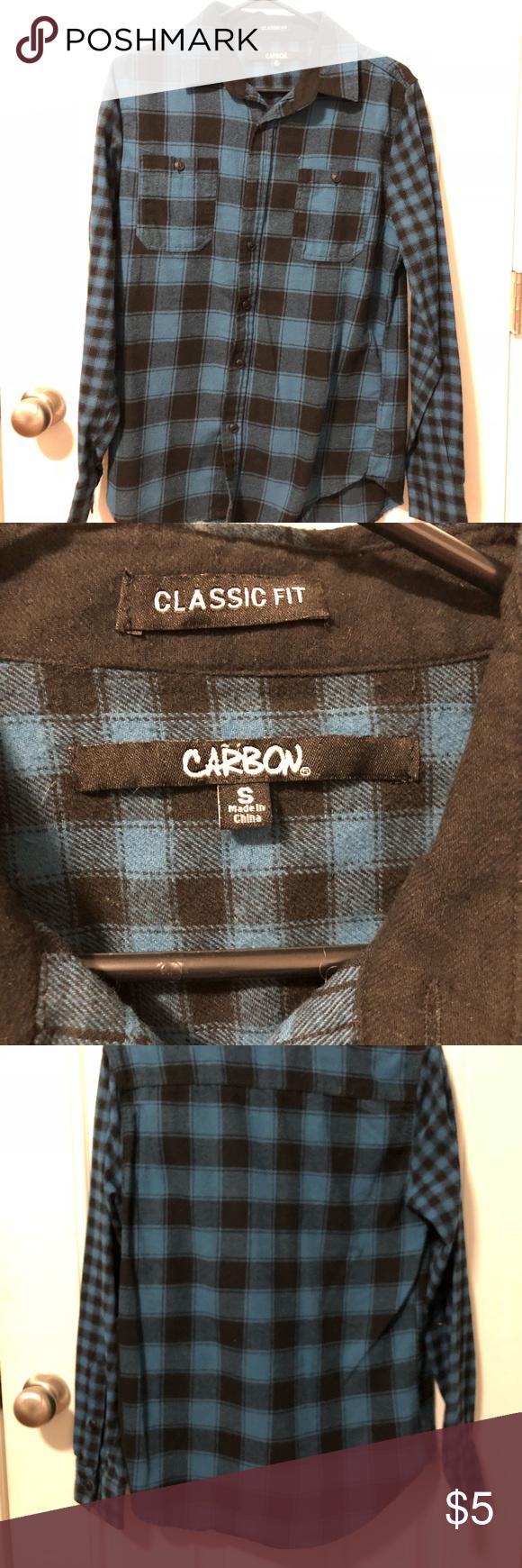 Flannel shirt black  Carbon black blue plaid flannel shirt menus small  Carbon black