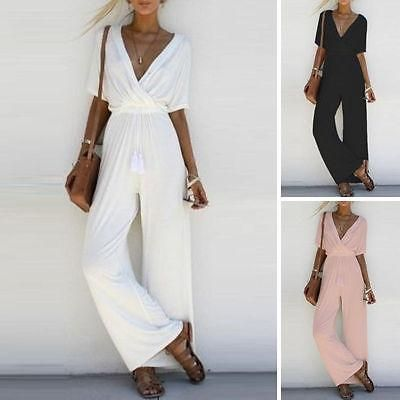 V-Neck Short Sleeve Jumpsuit (Different Colors Available)